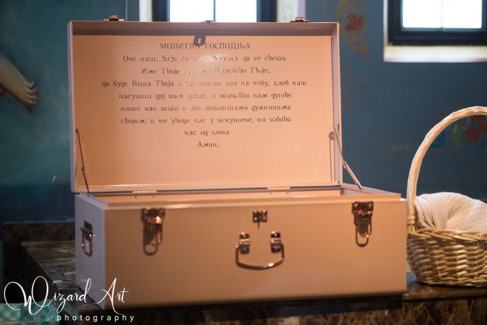 Custom metal pink vintage suitcase christening box.