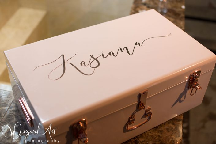 Custom name vintage metal pink christening box.