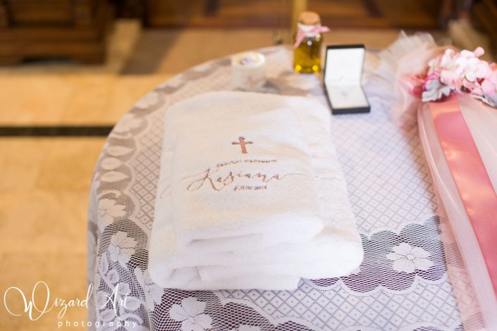 Custom embroidered christening towel.